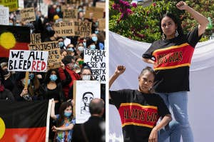 """Side by side of protesters at a Black Lives Matter rally in Australia and two women wearing shirts that say """"Always was"""" and raising up their hands in the BLM symbol"""