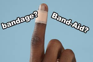 "A bandage on a finger with the questions ""bandage?"" and ""Band-Aid?"" over top"