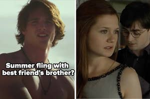 """shirtless Noah from """"The Kissing Booth"""" labeled """"summer fling with best friend's brother?"""" alongside Harry and Ginny from """"Harry Potter"""""""