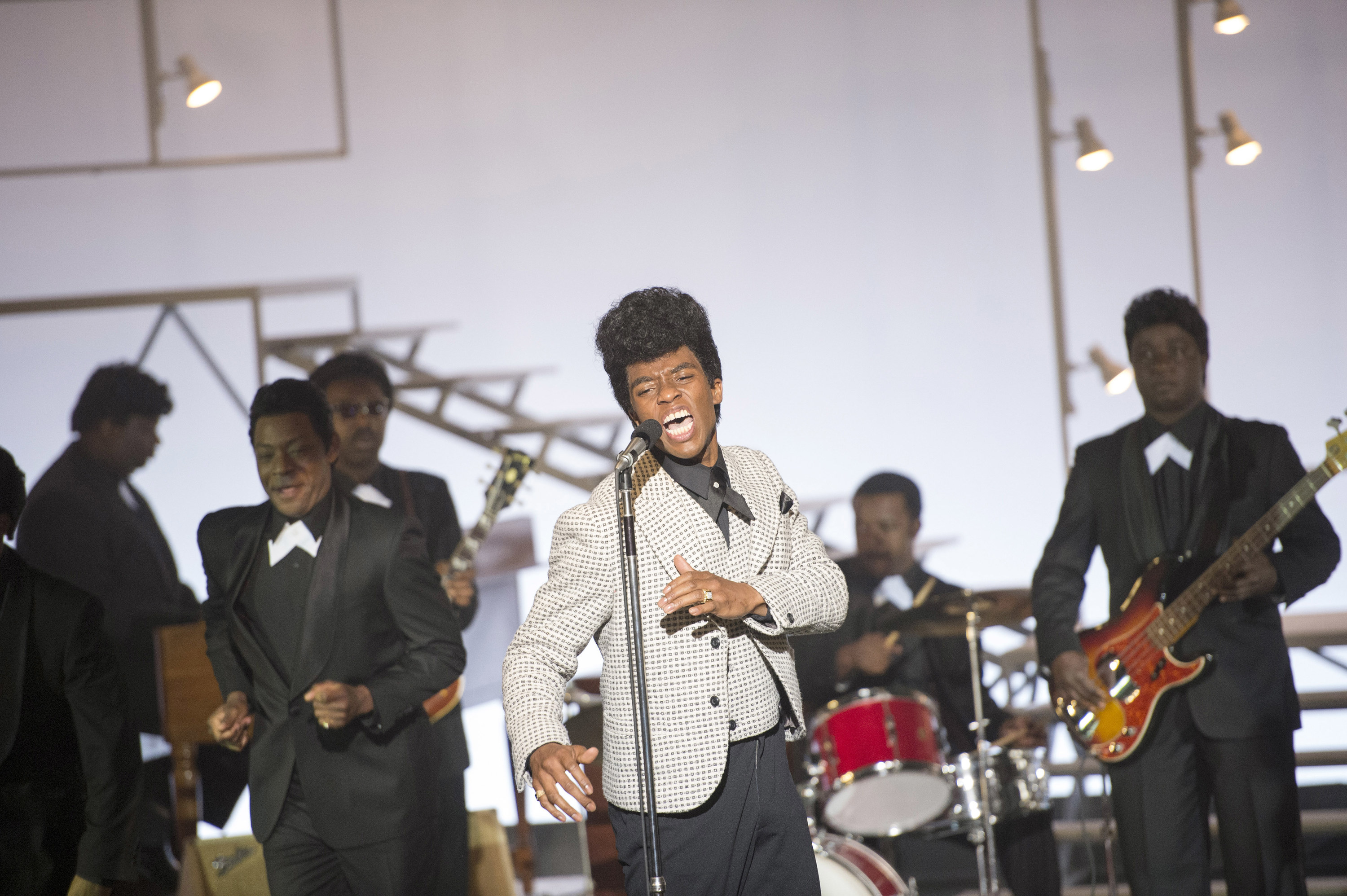 Chadwick Boseman performing as James Brown in the film Get On Up