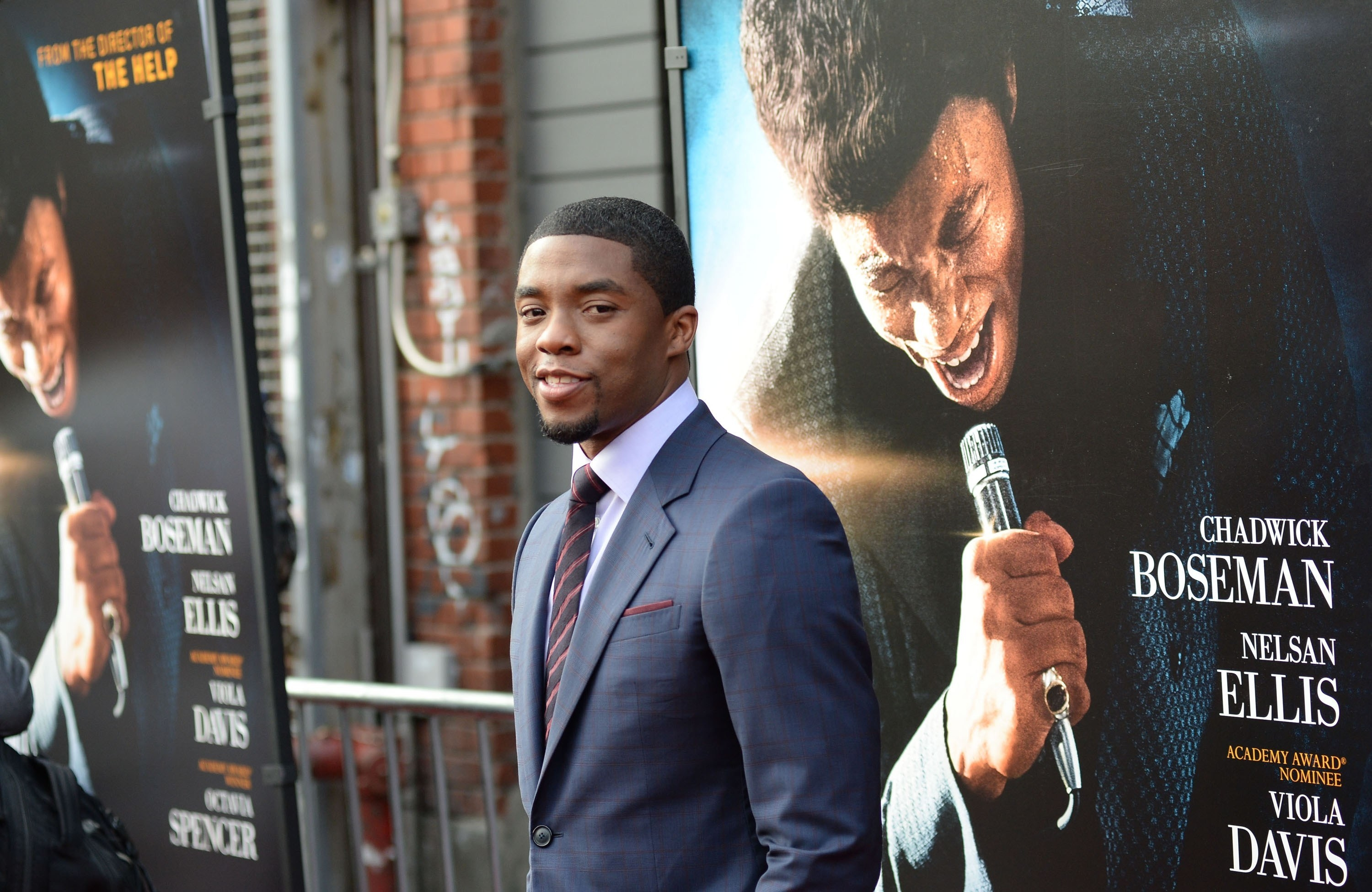 Chadwick A Boseman on the GET ON UP Premiere red carpet in 2014
