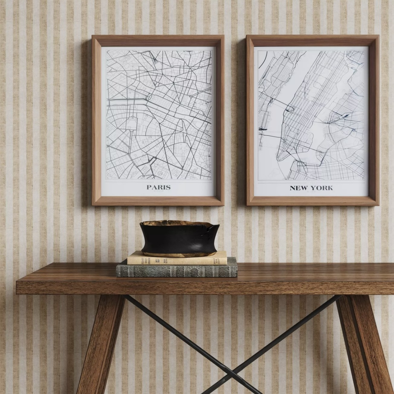 Two framed maps of Paris and New York