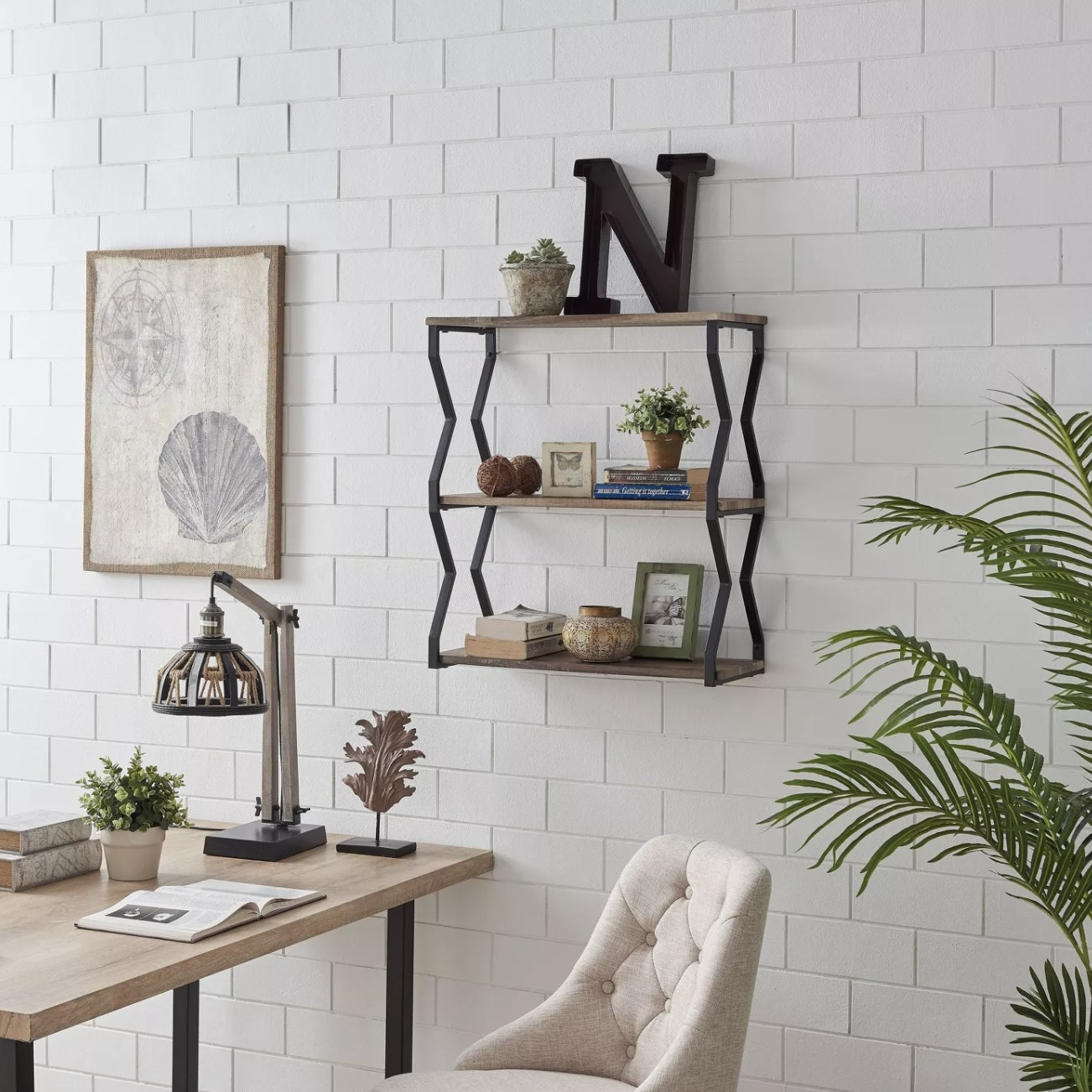 The floating shelf with decor on top