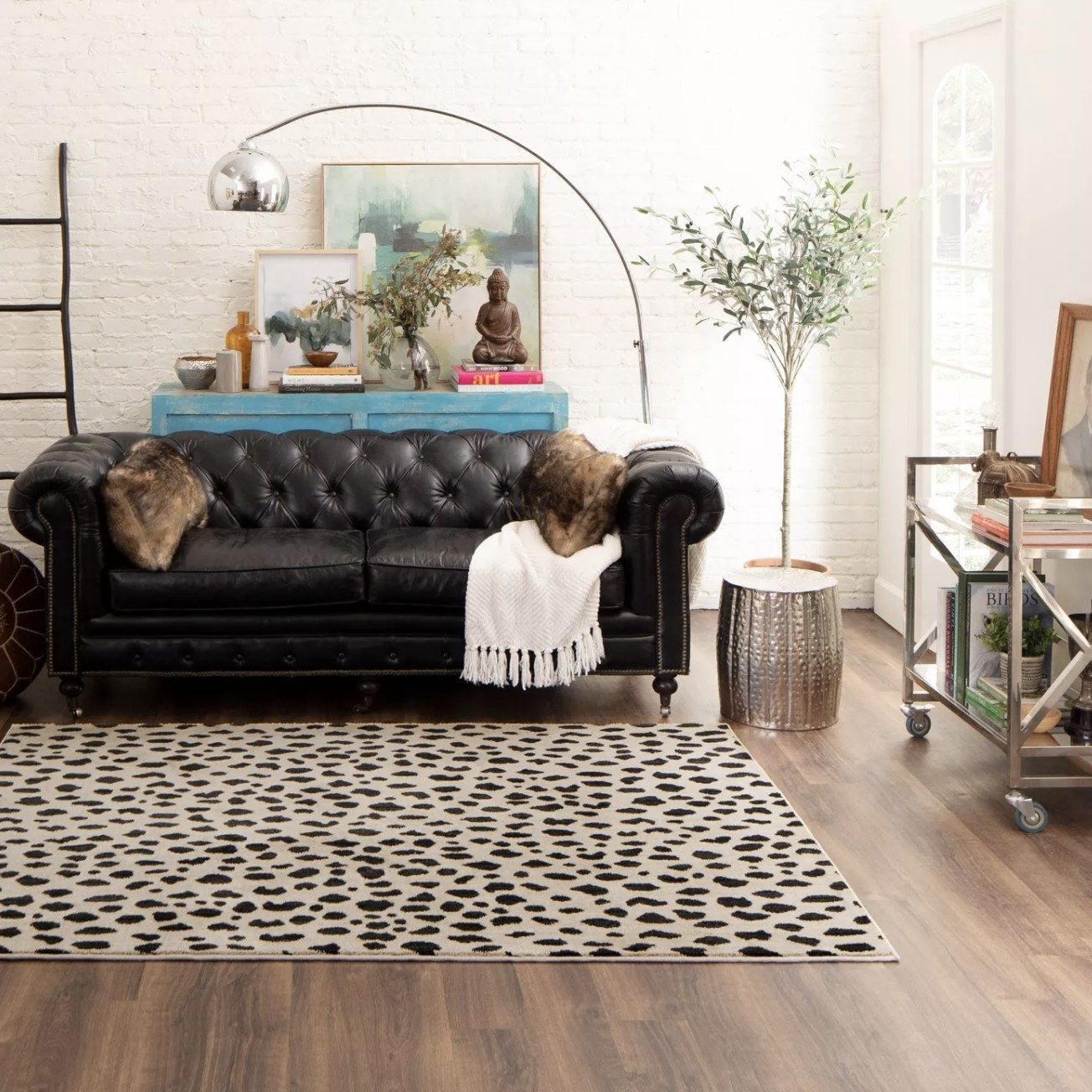 The leopard print rug in a living space