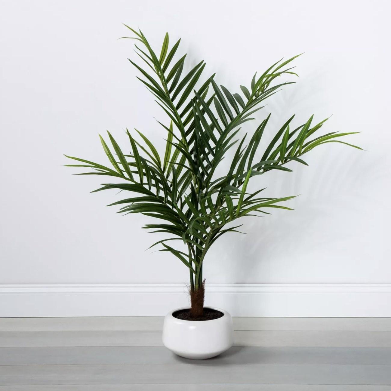 An artificial palm plant