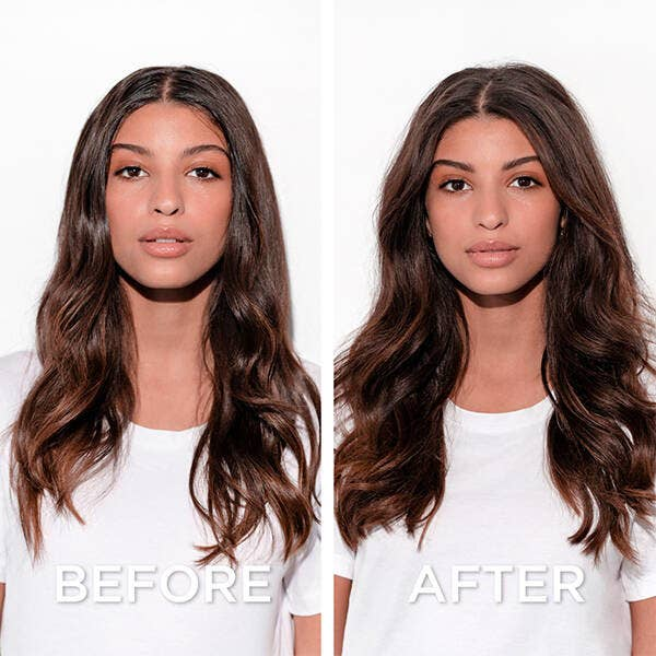 A before and after showing a model with limp and oily hair, and after using the dry shampoo her hair is more voluminous and less greasy
