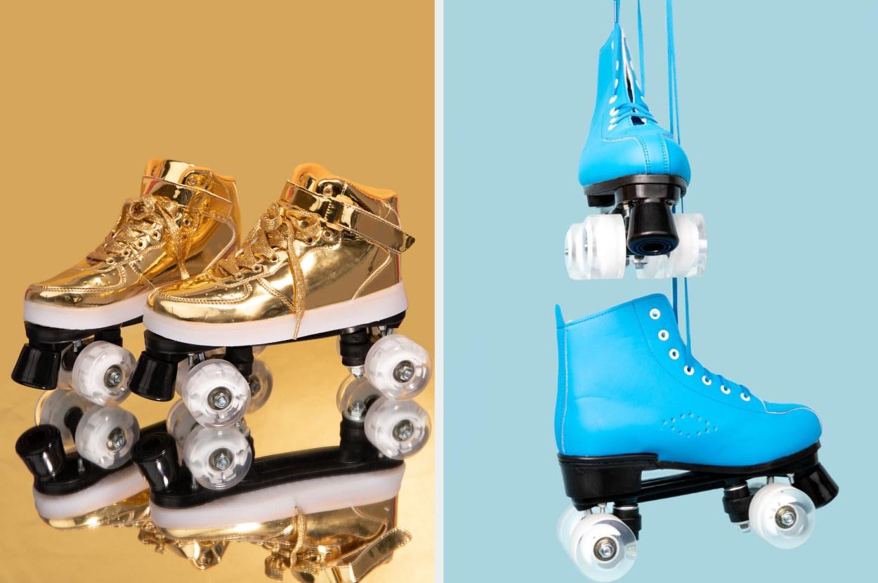On the left LED light up roller skates in gold, on the right blue roller skates