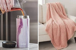 on left a mug and on right a plush pink blanket