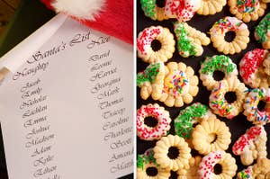 On the left, Santa's list, and on the right, a bunch of spritz cookies