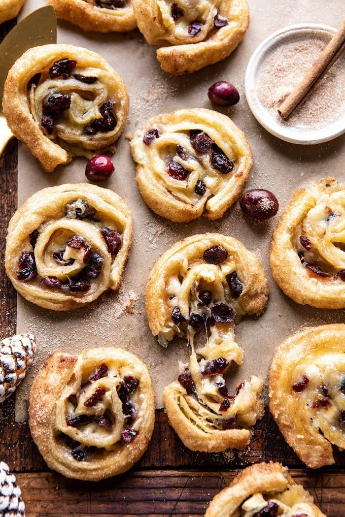 Half a dozen puff pastry roll-ups filled with Brie and cranberries.