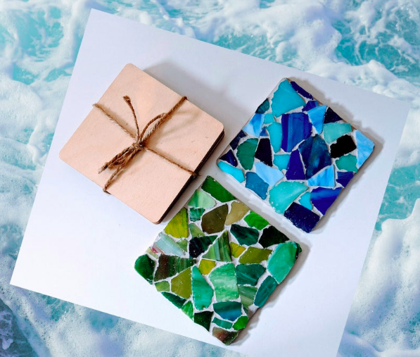 Two coasters with rough pieces of sea glass