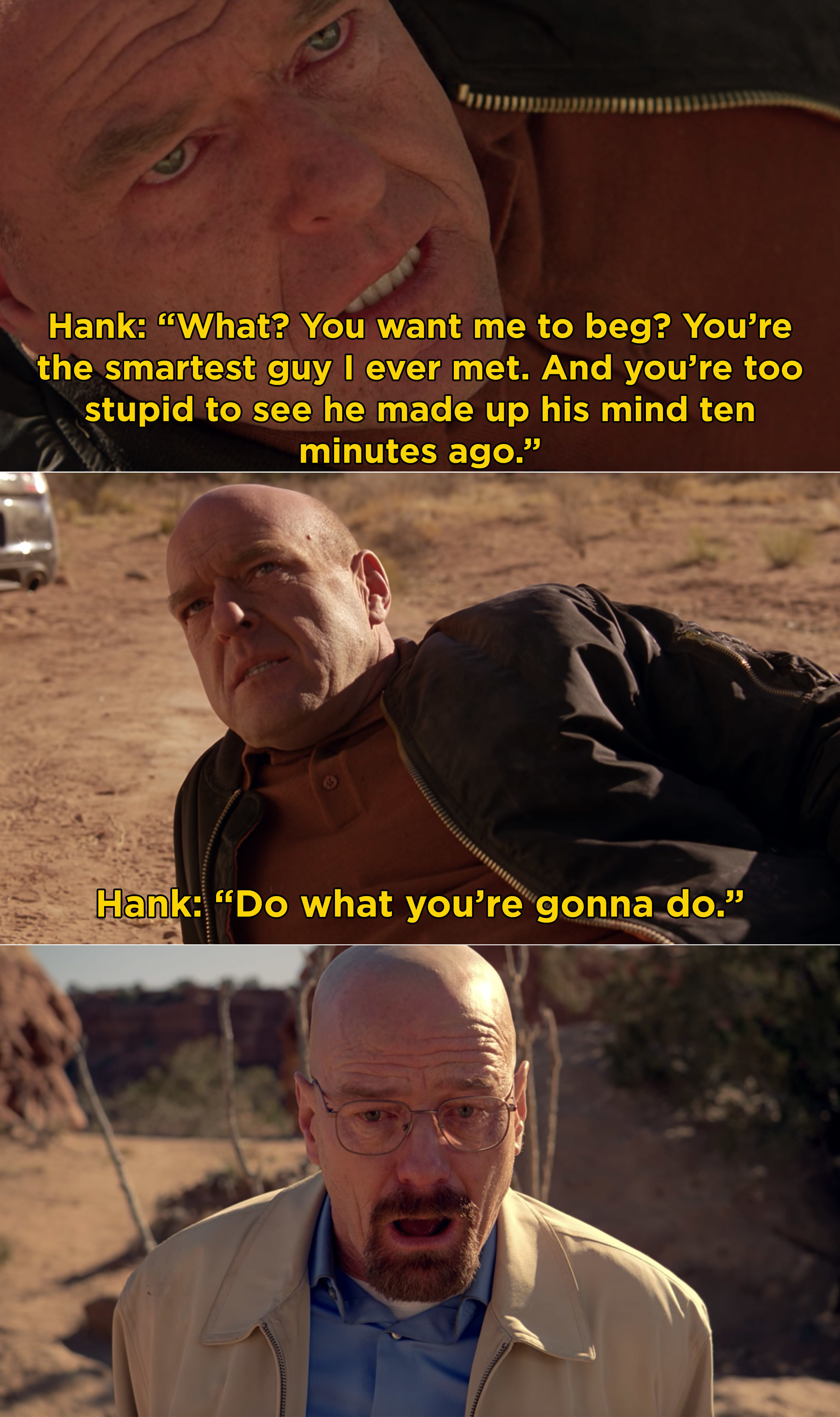 Hank telling Walt that they made up their mind ten minutes ago