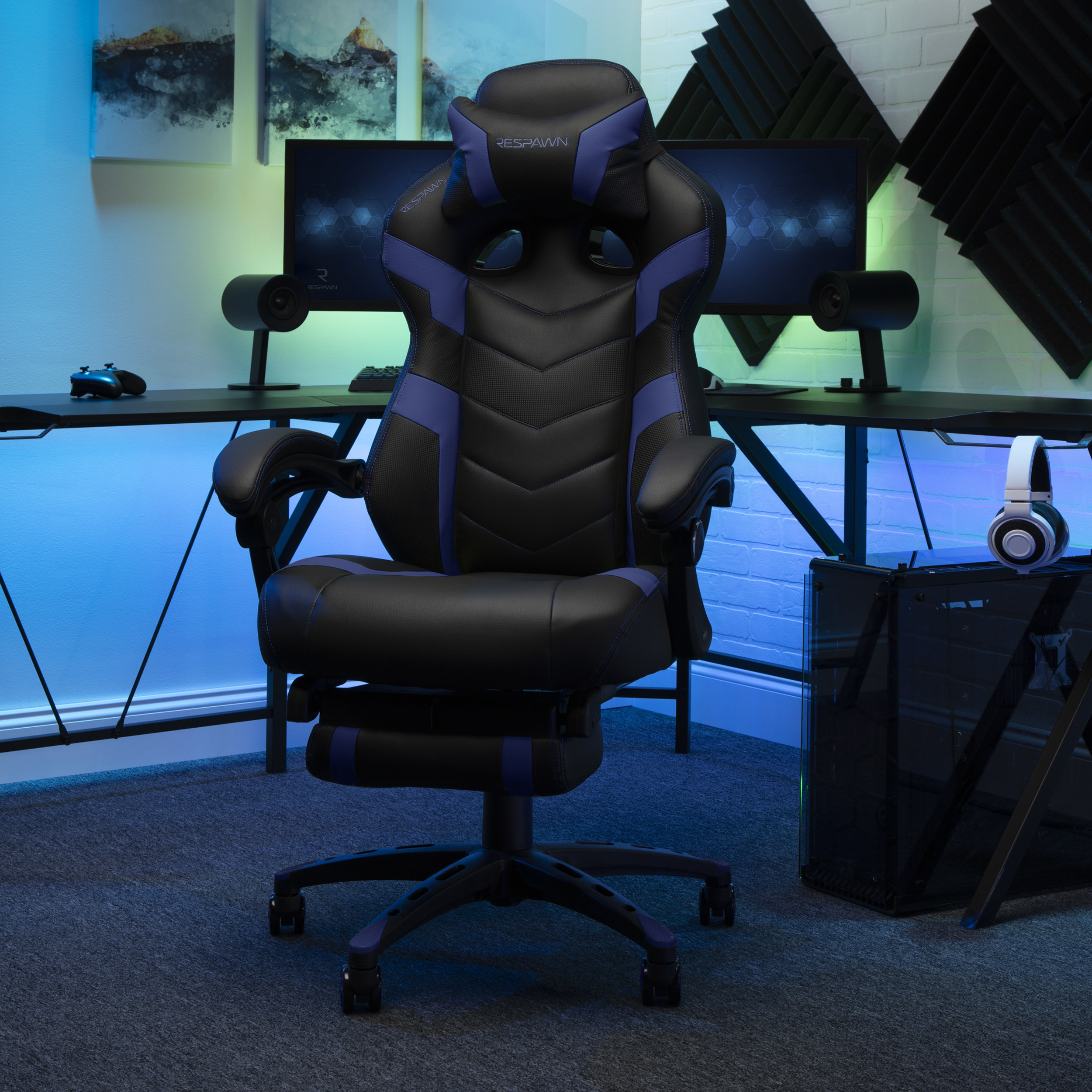black gaming chair with blue details