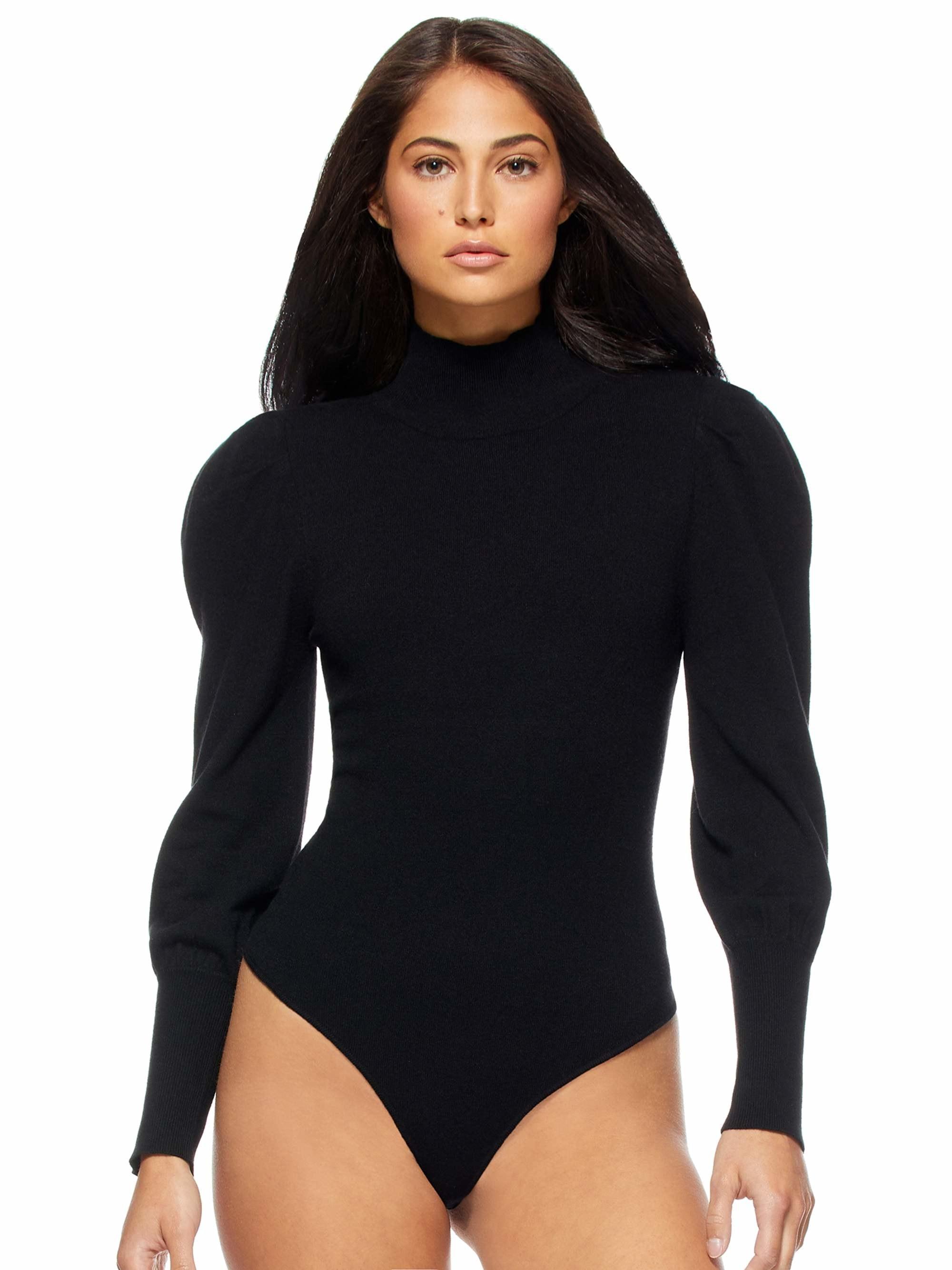 Model in long-sleeve black body suit