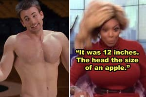 """Side-by-side of a shirtless Chris Evans in """"What's Your Number?"""" and a meme of Wendy Williams reacting shocked"""