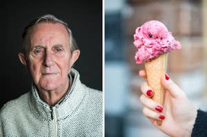 On the left, an older man wearing a pullover, and on the right, someone holding a strawberry gelato cone