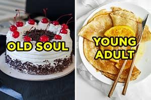 """在左边,一个黑色的森林蛋糕标记为""""老灵,""""和右侧,一些克里普斯苏茨特标有""""年轻人"""""""
