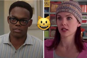 """Chidi from """"The Good Place"""" is on the left with Lorelai from """"Gilmore Girls"""" on the right and a cat emoji in the center"""
