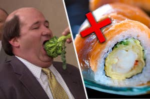 Split Image: Kevin from the office eating a piece of broccoli on the left and a piece of sushi on the right with a big red X over it