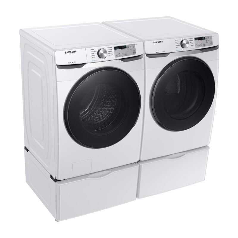 White washer and dryer with black and clear doors and silver accents