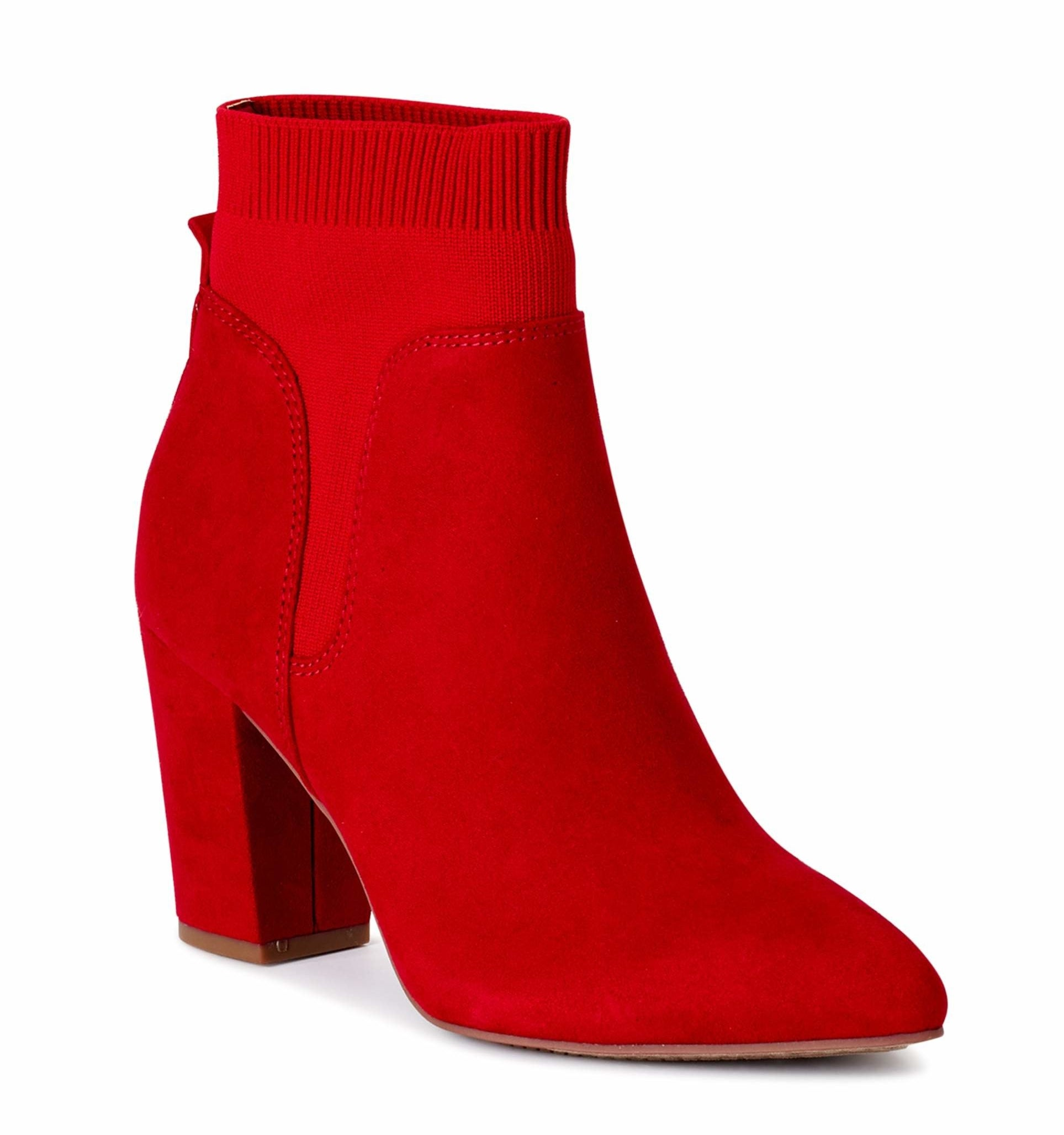 A pair of red booties