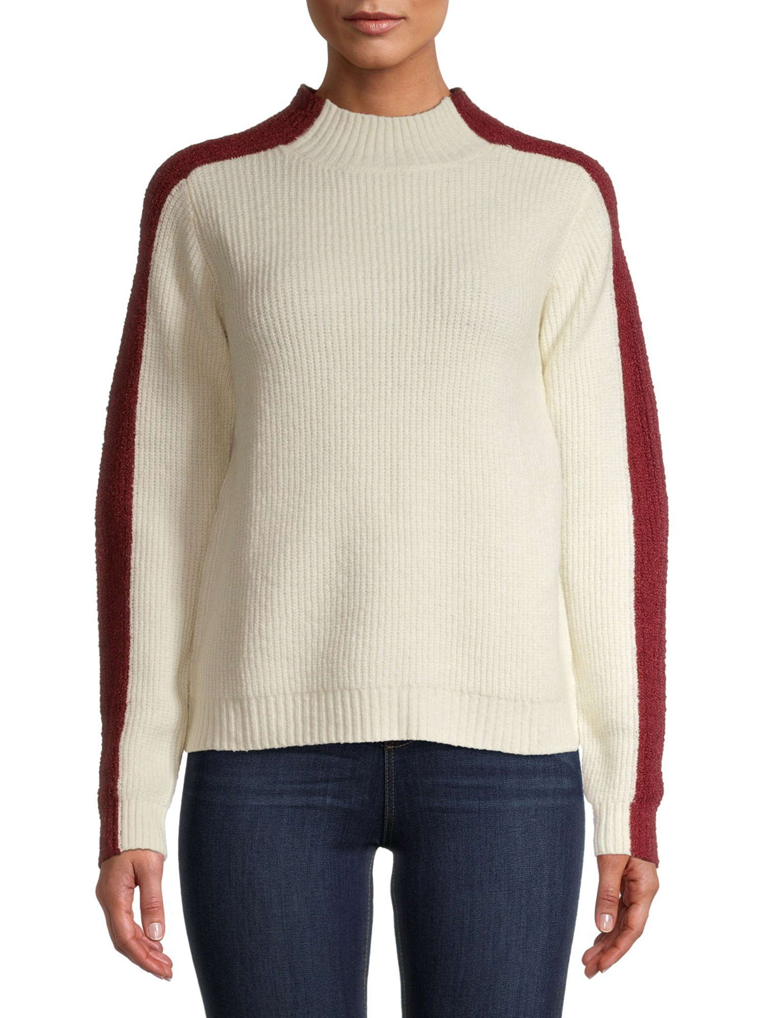 Model wearing white sweater with red stripes