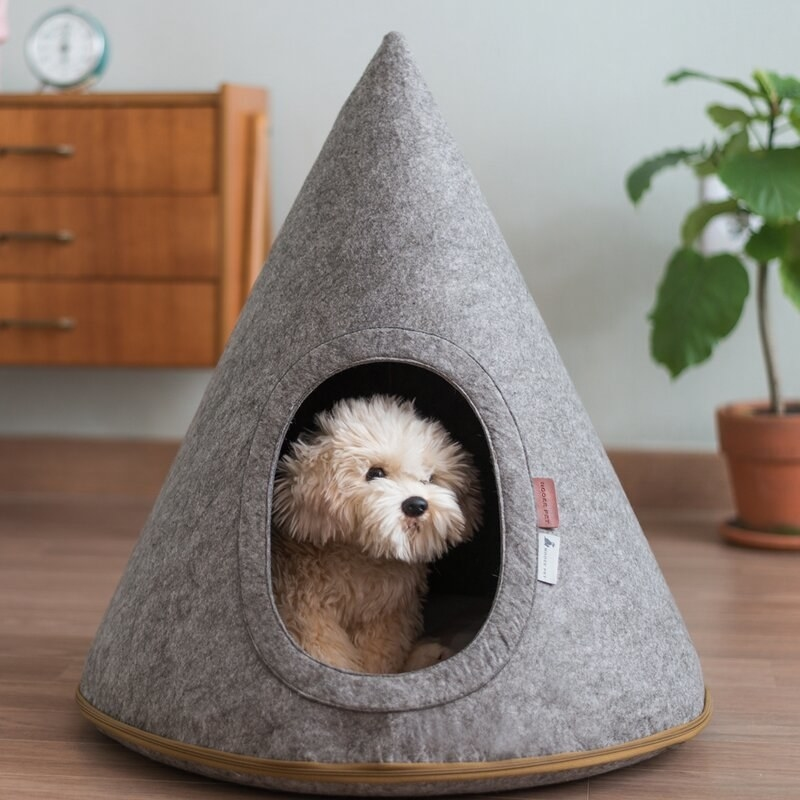 Gray hooded pet cave with tan zipper and white and red tags