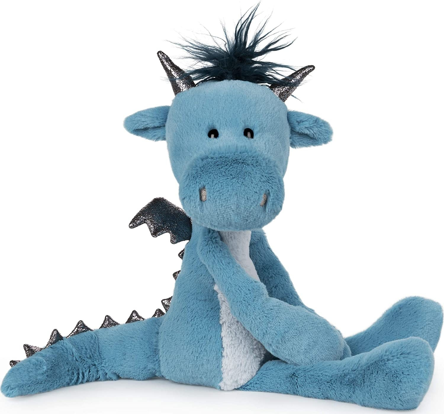 Blue stuffed dragon with sparkly wings and horns