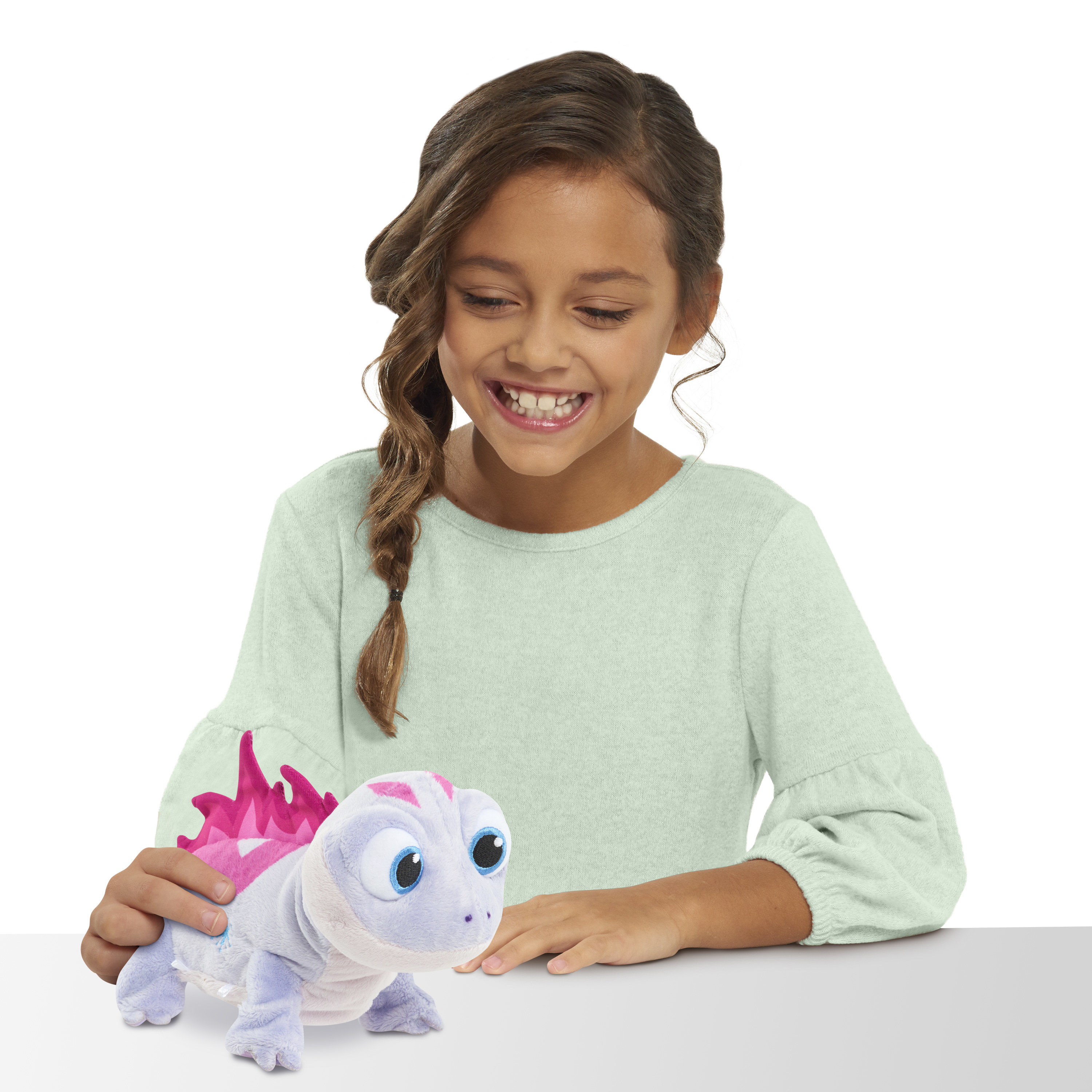 child playing with bruni the salamander walk and glow toy