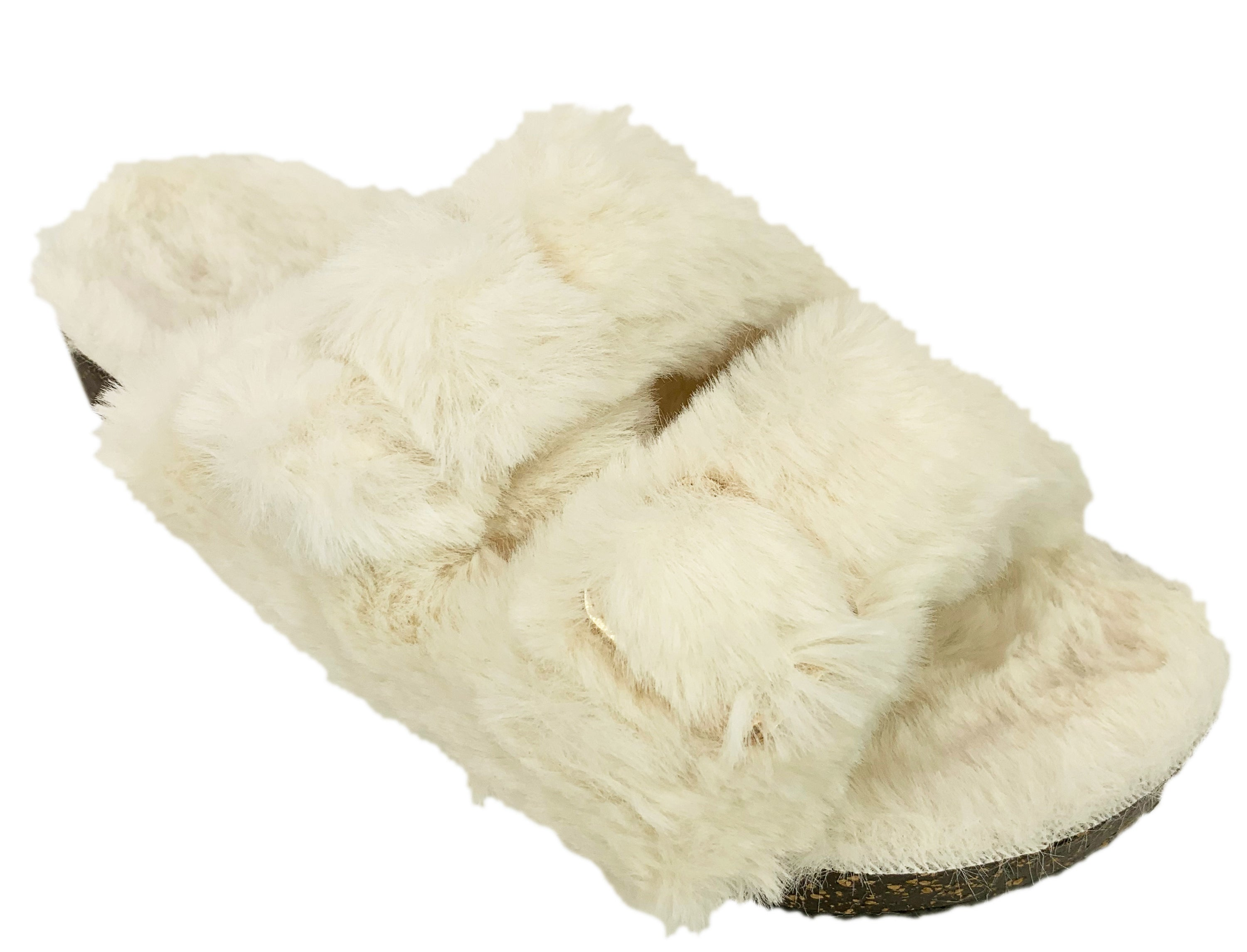 a pair of white fluffy slippers