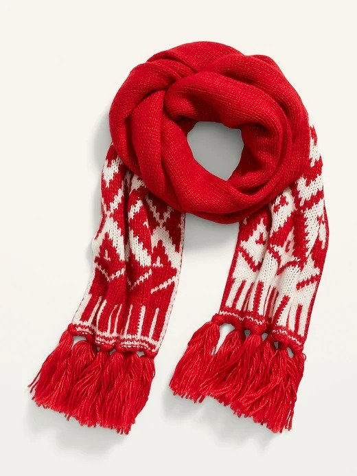 A red and white scarf with fringes at the bottom of each side