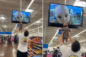 A baby's face close-up on a store's security cam