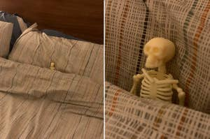 A little skeleton doll tucked into a big bed