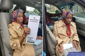 An old woman with her ballot to vote
