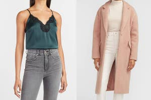 to the left; a model in a green cami, to the right: a model in a pink long coat