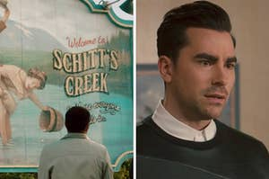 """On the left, the """"Welcome to Schitt's Creek"""" sign, and on the right, David from """"Schitt's Creek"""""""