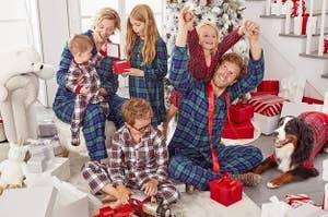 family in plaid pajamas