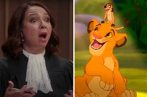 """The judge from """"The Good Place"""" is on the left with Simba holding Timon from """"The Lion King"""""""
