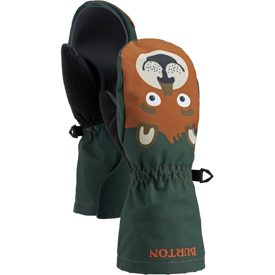 a pair of green mittens with bear faces on them