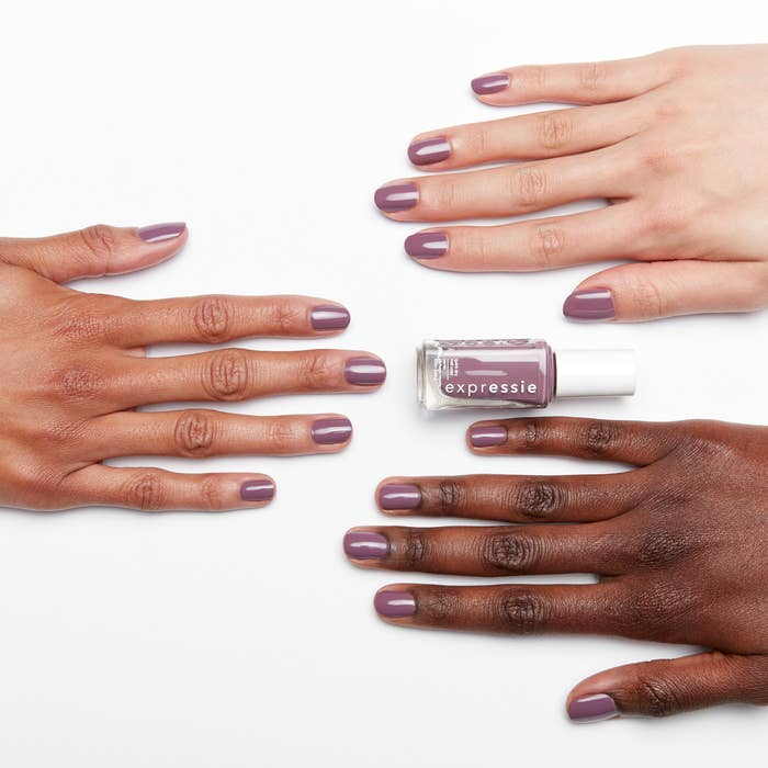 The essie expressie polish painted on three different skin tones to show the color
