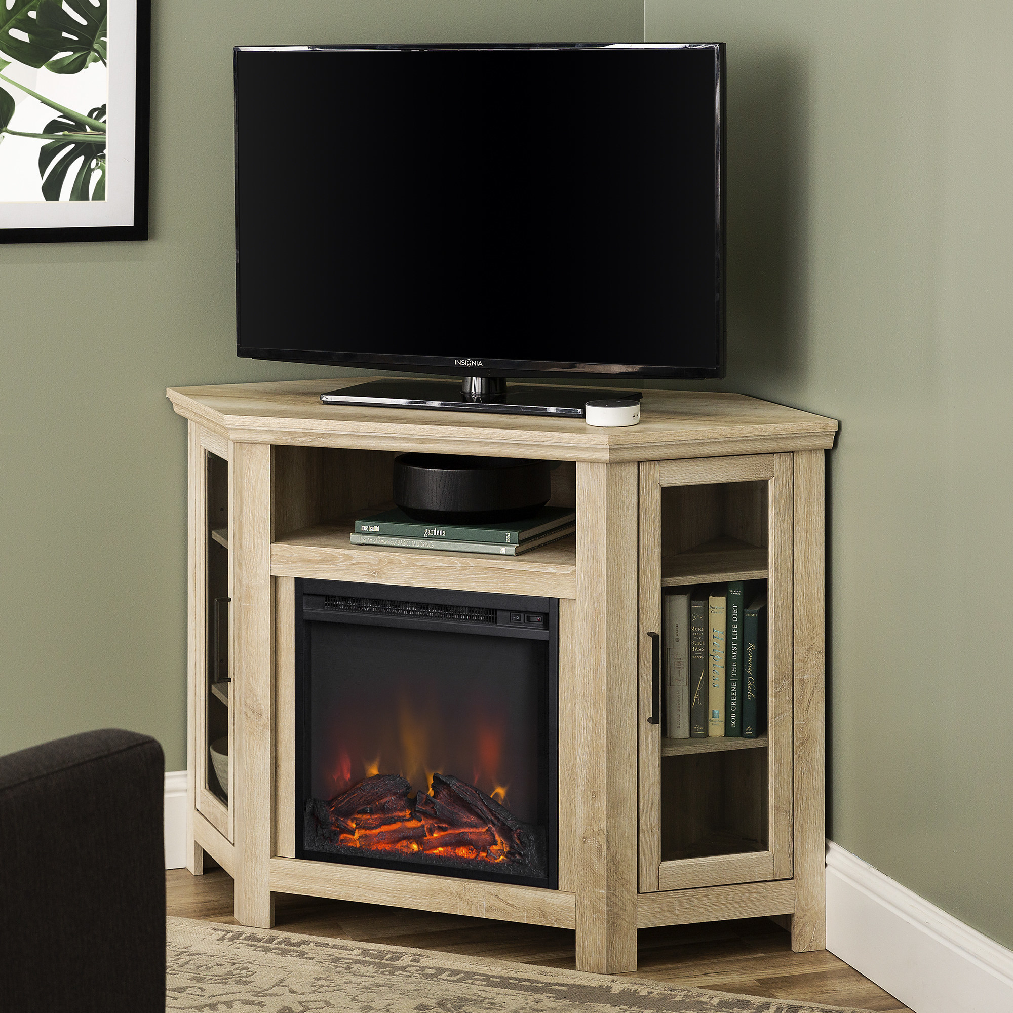 corner TV stand with electric fireplace and TV on top