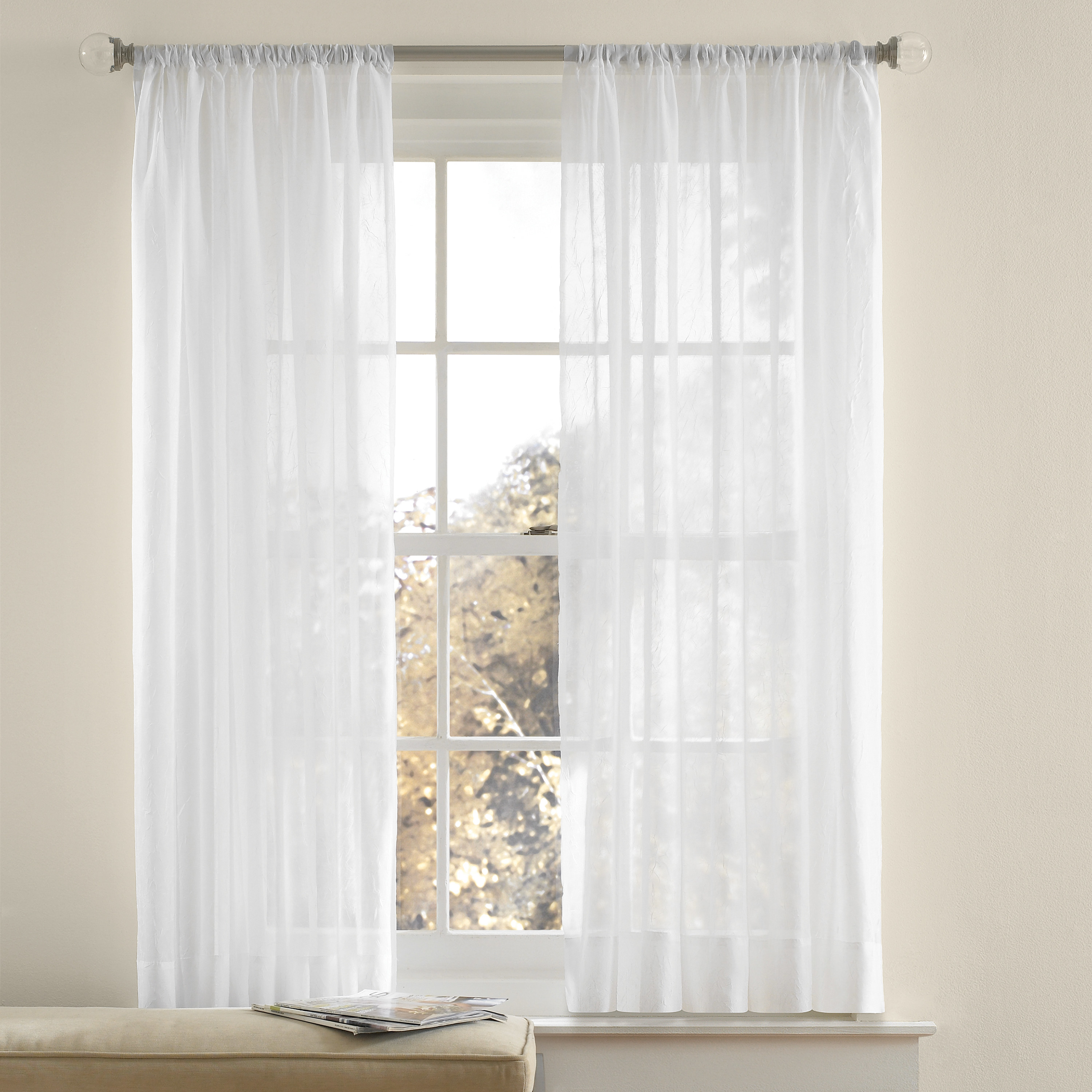 Crushed voile white long hanging curtains