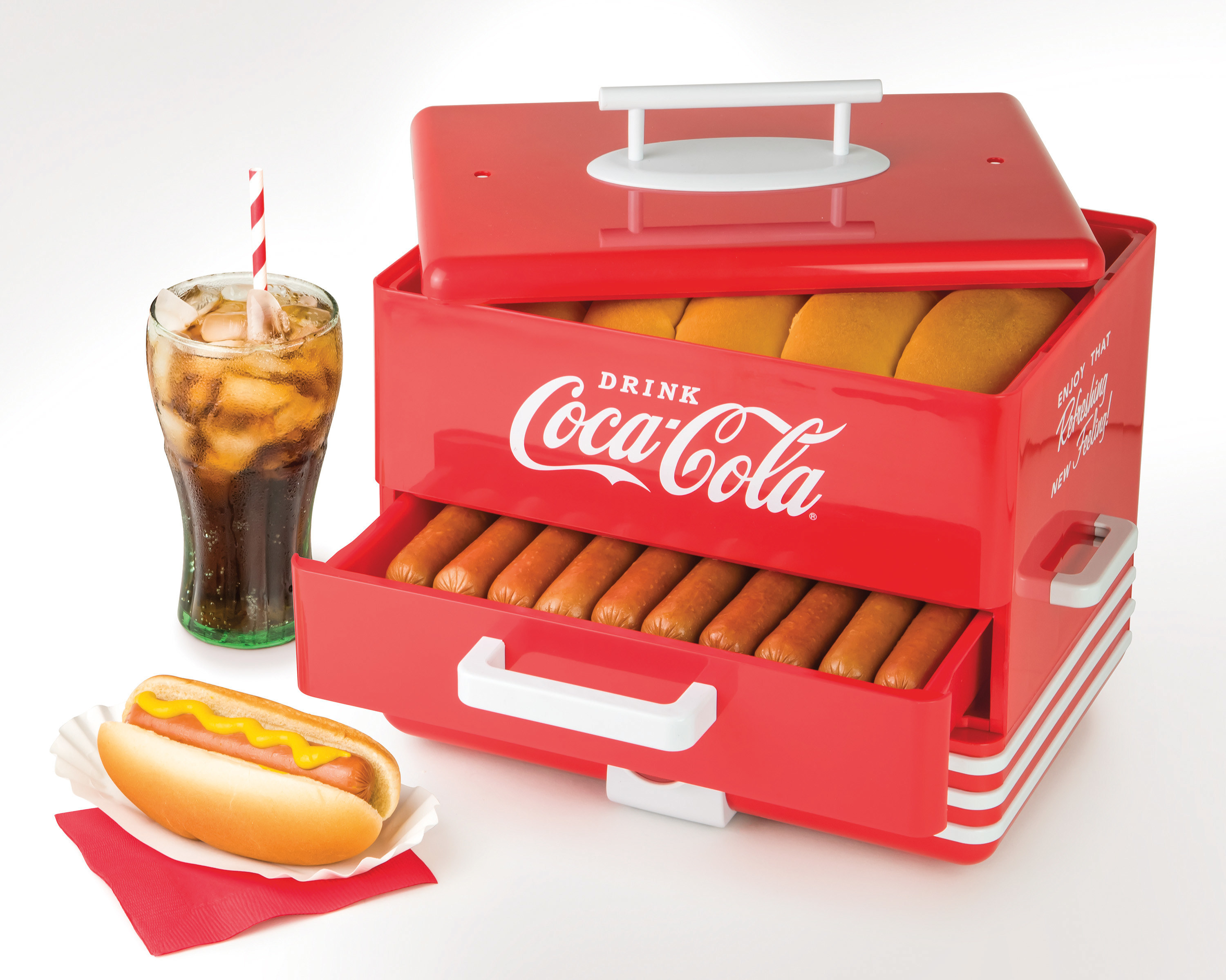 coca-cola hot dog steamer and bun warmer with buns and hot dogs being cooked inside of it