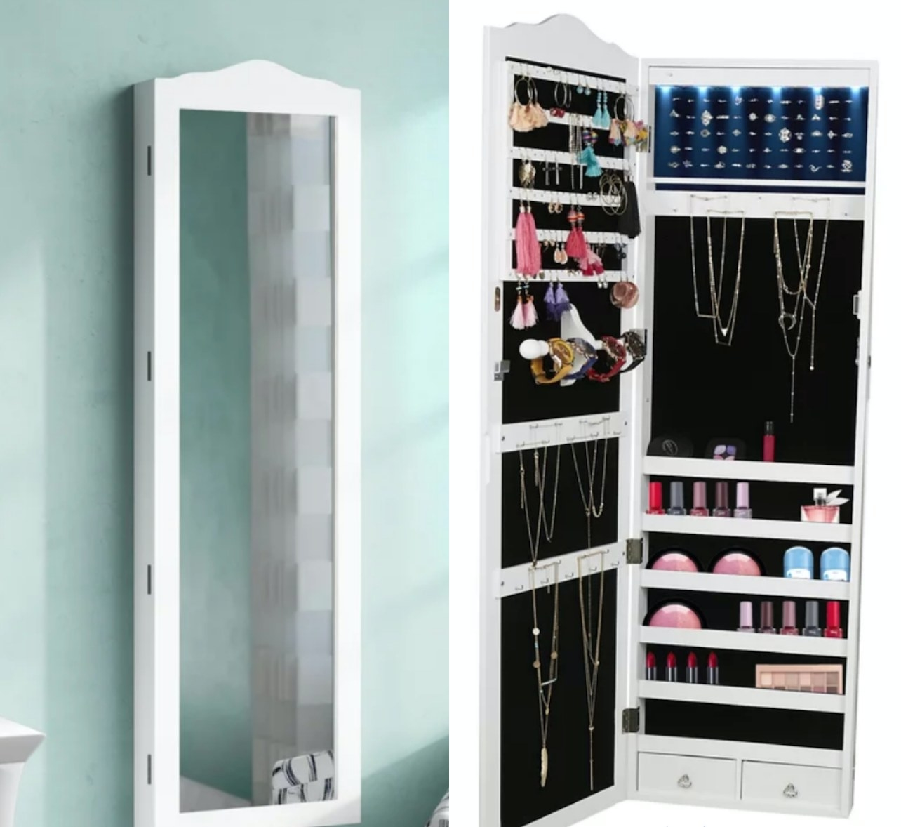 White wall mirror that opens into a jewelery storage unit