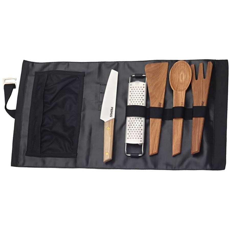 roll out sleeve with utensils, knife, and grater