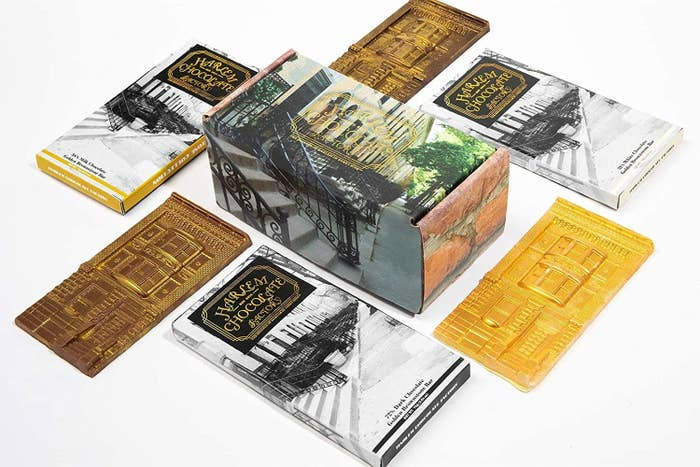 The box, decorated with an image of Harlem buildings, and the six individually wrapped bars