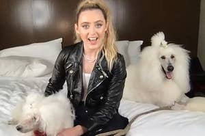 Kathryn Newton and her dogs