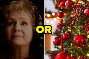 """Aggie from """"Halloweentown"""" is on the left with """"or"""" written in the center and a Christmas tree on the right"""