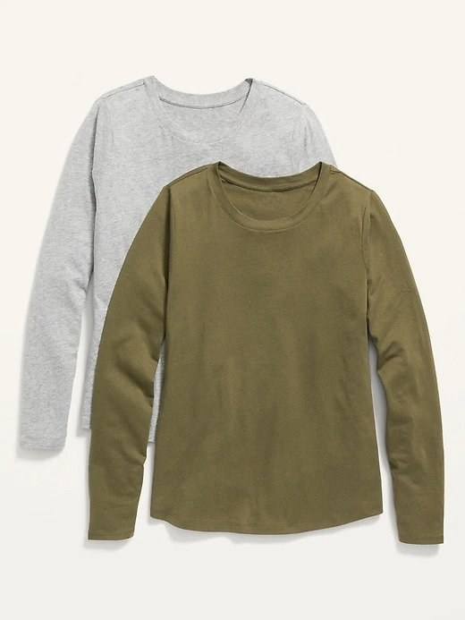 An plain olive green long sleeve tee displayed in front of a plain grey long sleeve tee