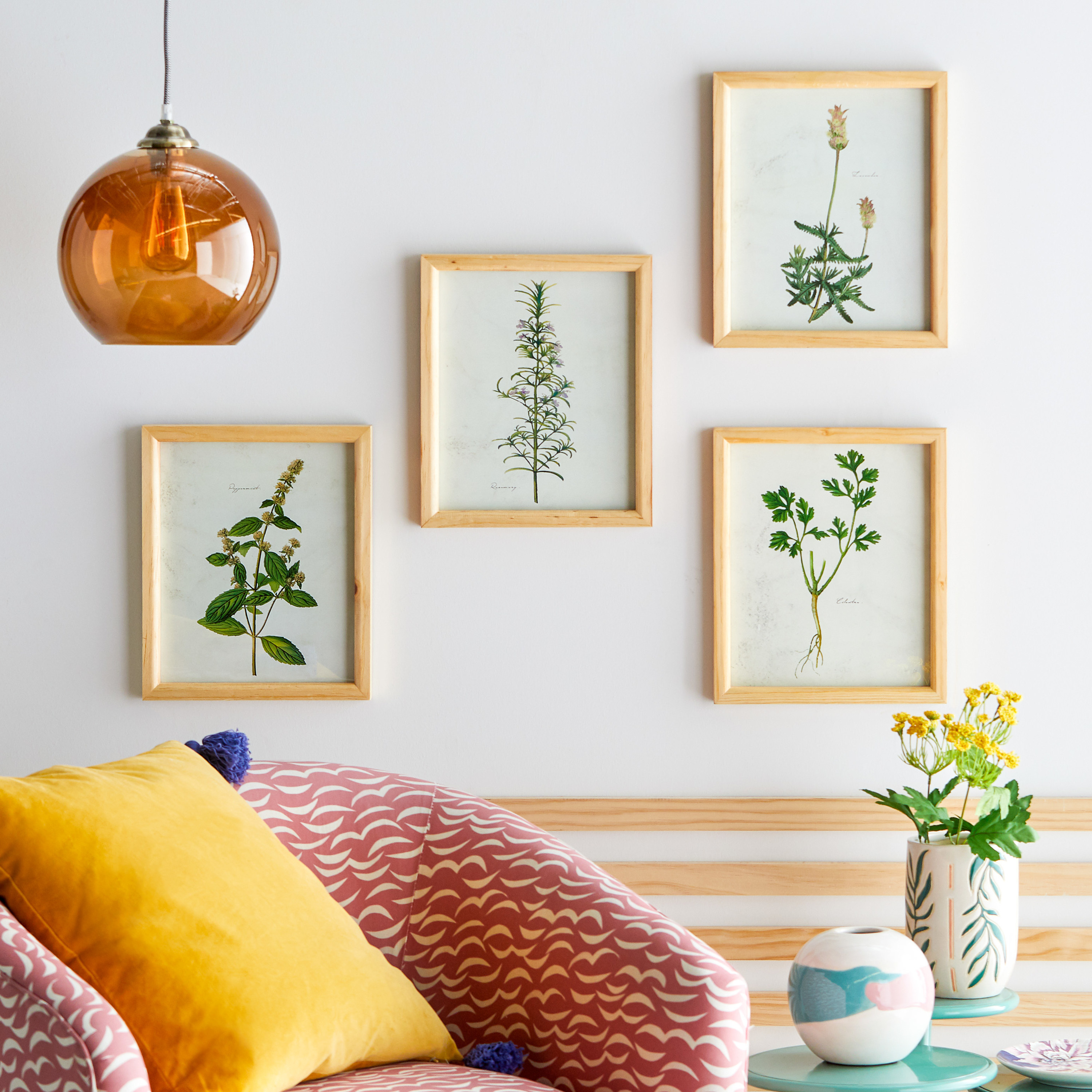 Fern printed  wall art in set of four